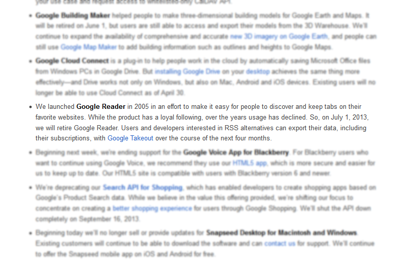The death of Google Reader, forever immortalized.