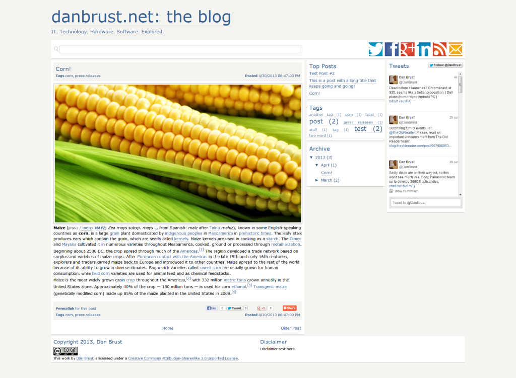 Here's a look at the Blogger site I developed before moving to WordPress.