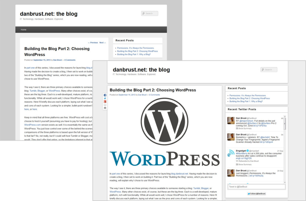 A look at this blog's theme, before and after my customization work.