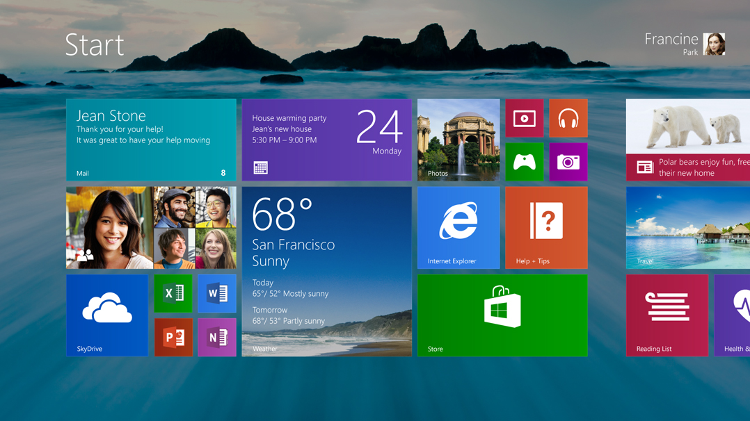 The Modern UI interface, as found in Windows 8.1.