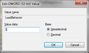To disable the Bluetooth add-in, change the 3 to a 0, then click OK.